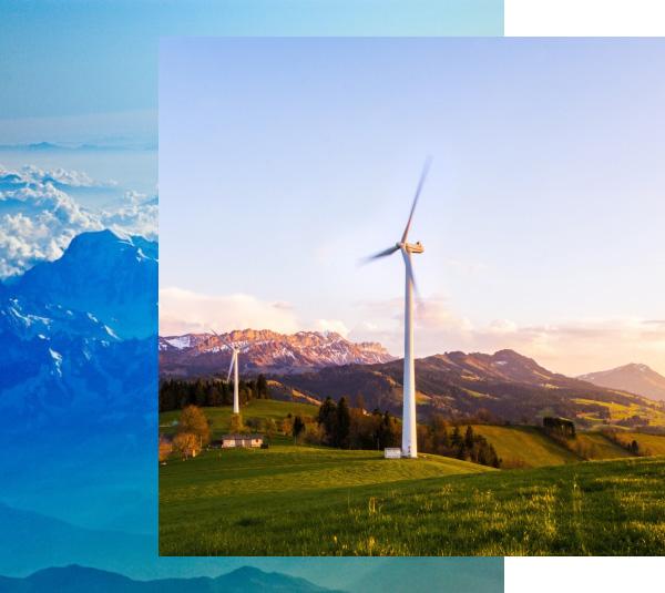 Paneles eolicos generando energía renovable , verde y limpia
